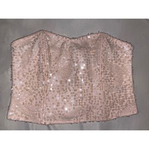 F21 Pink strapless sequin blouse💓